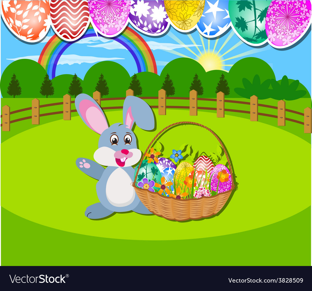 Happy easter background with eggs and rabbit vector | Price: 1 Credit (USD $1)