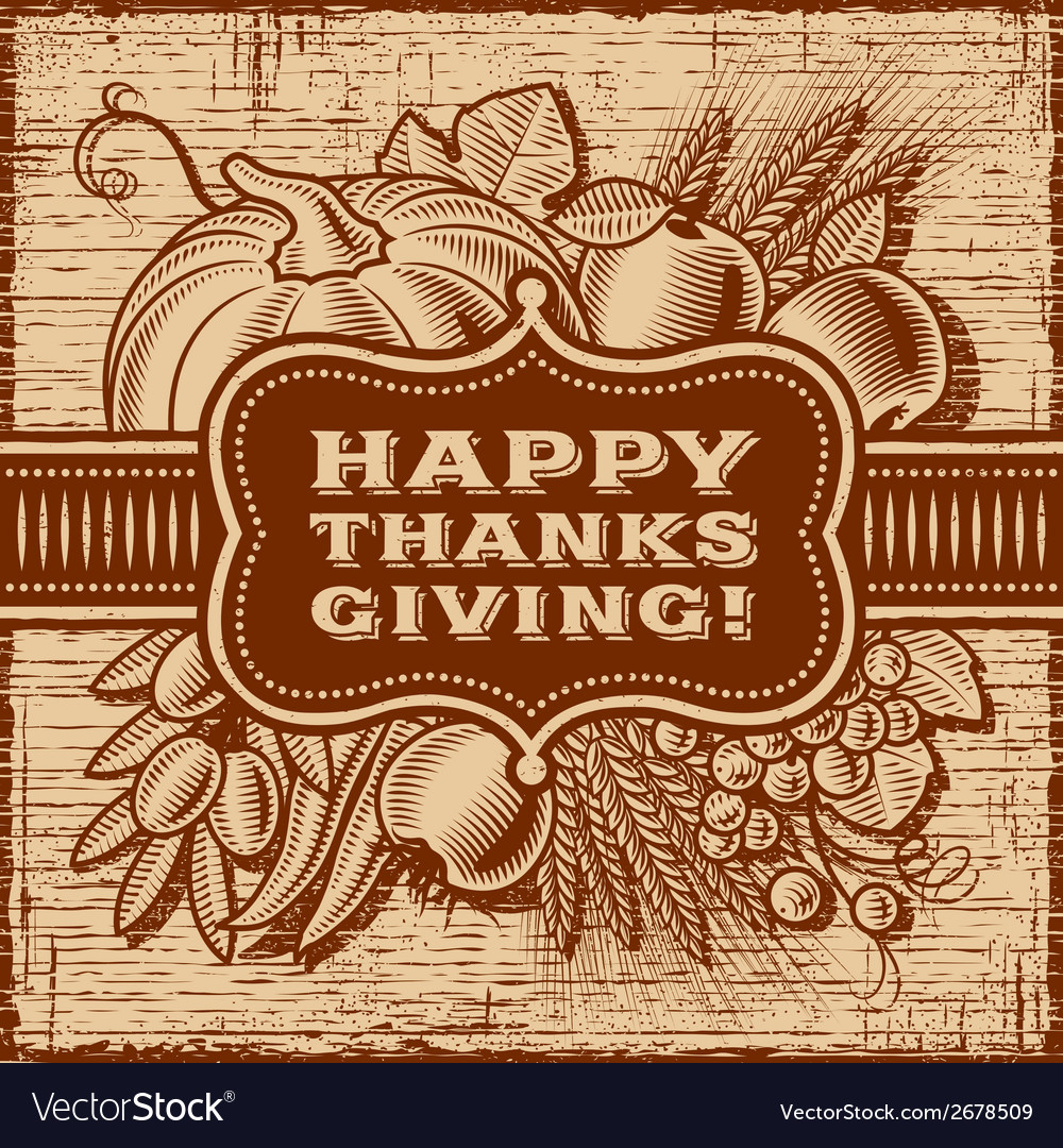 Happy thanksgiving retro card brown vector | Price: 1 Credit (USD $1)