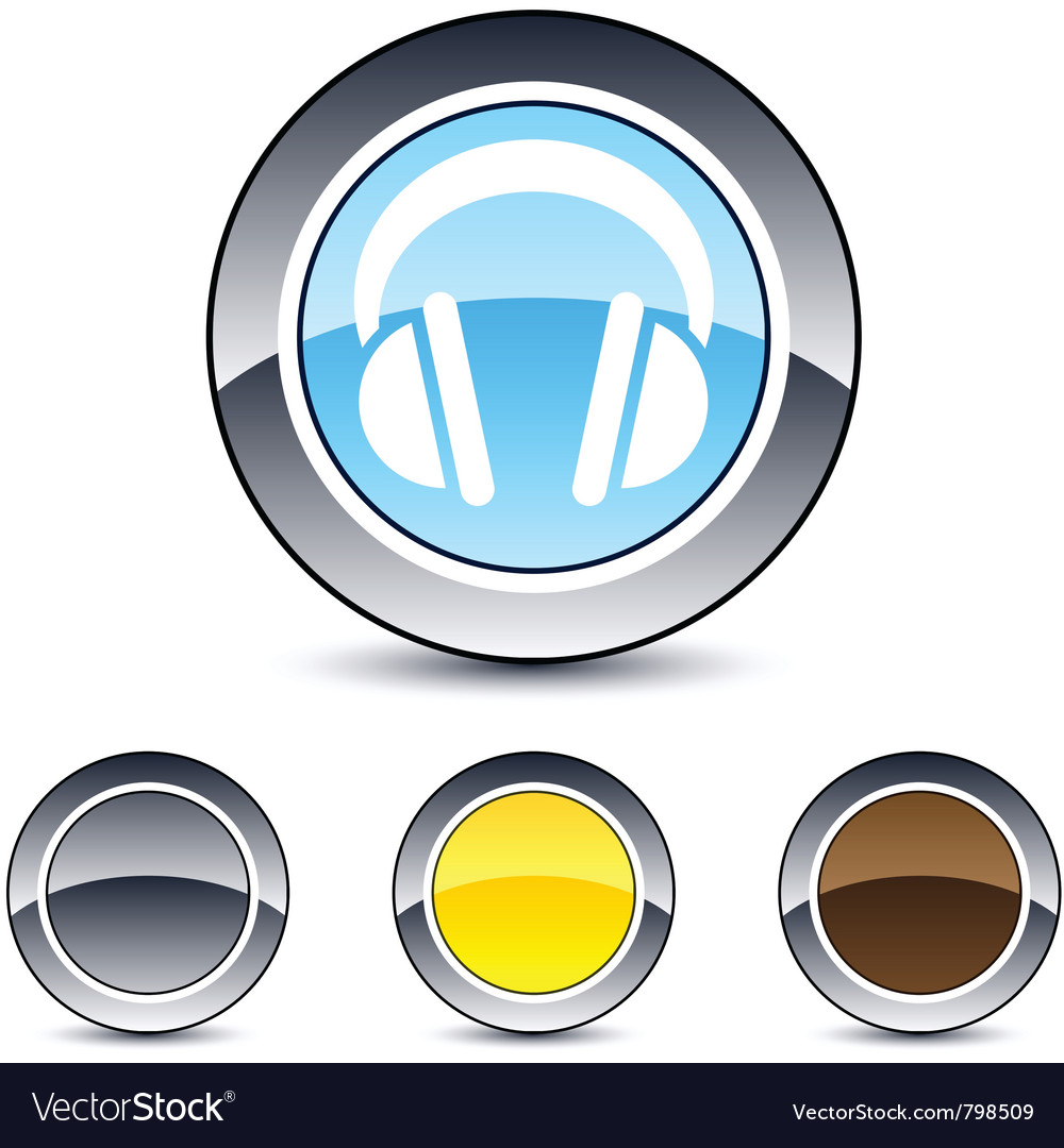 Headphones round button vector | Price: 1 Credit (USD $1)