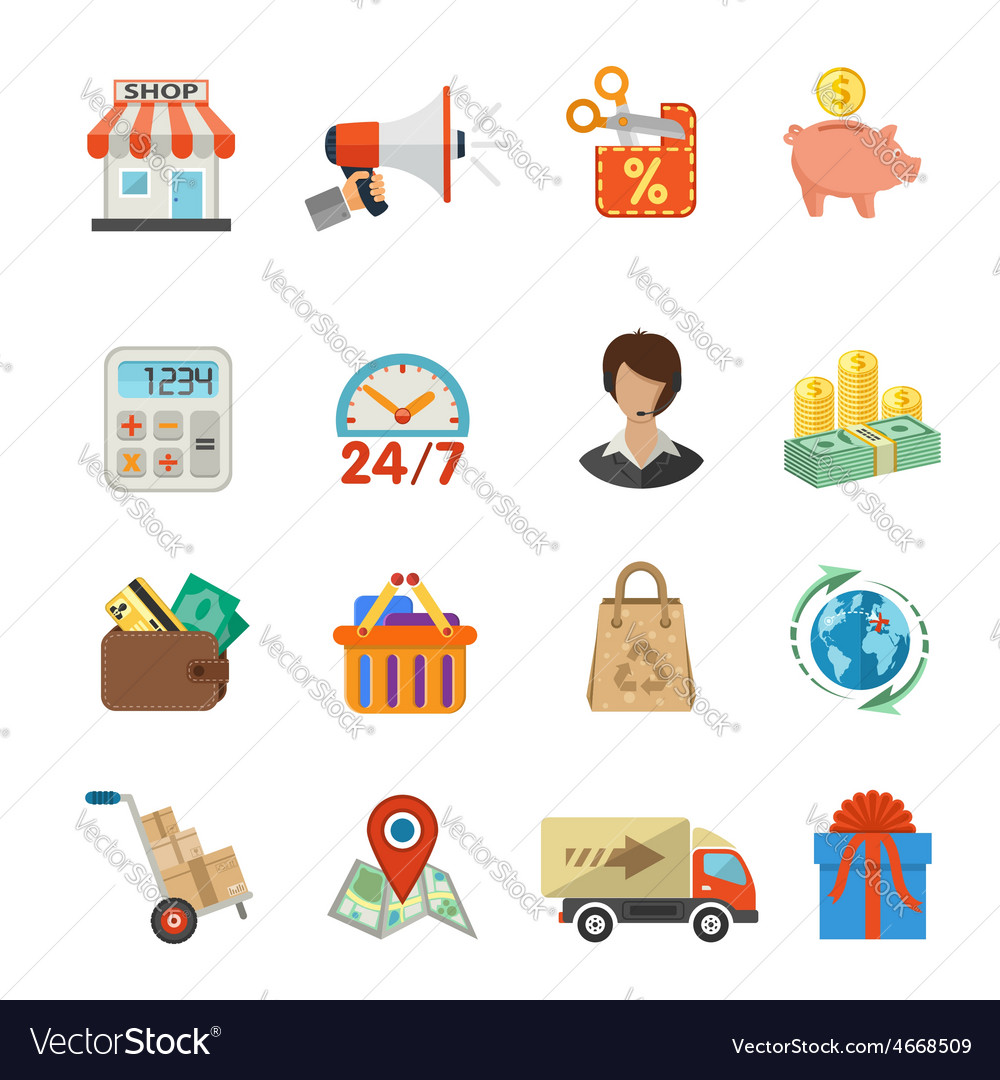 Internet shopping and delivery flat icon set vector   Price: 1 Credit (USD $1)