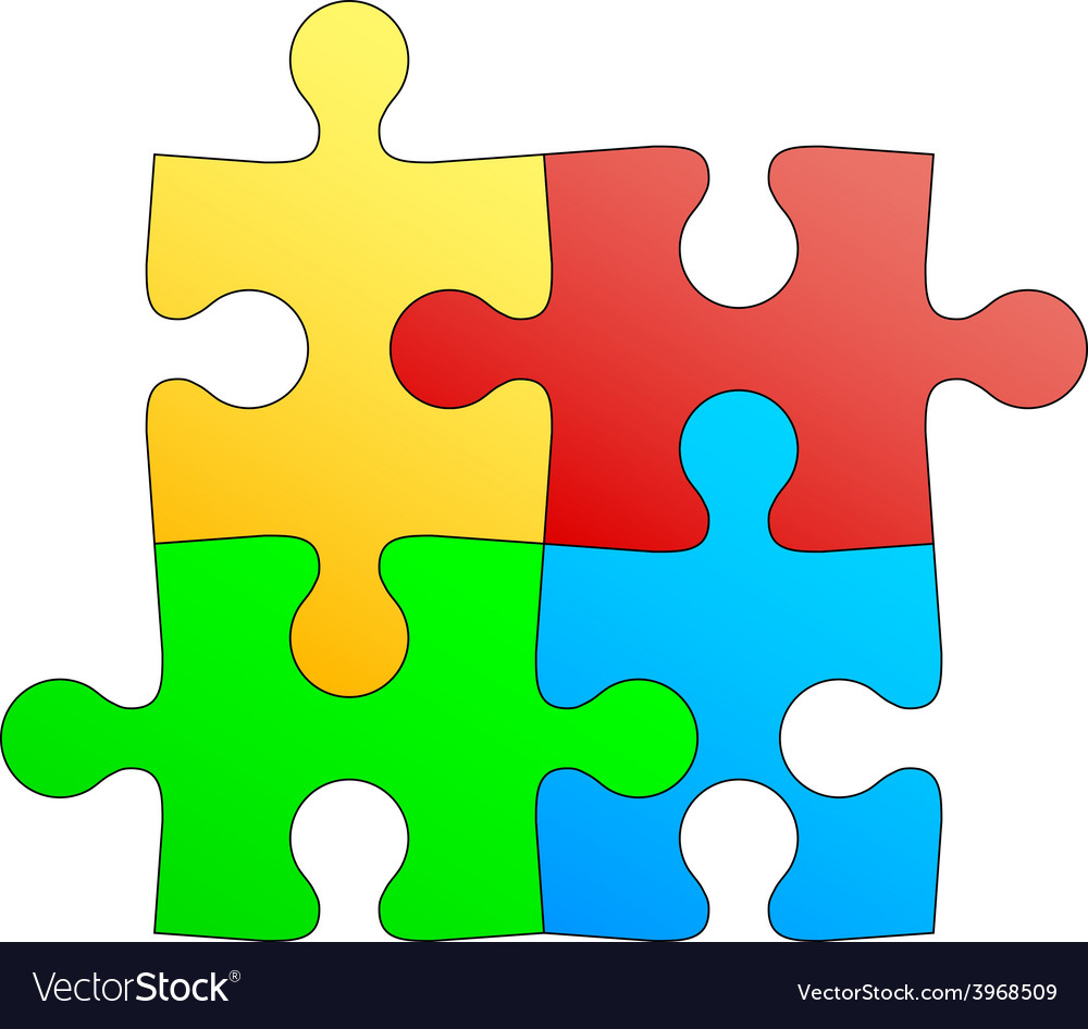 Jigsaw puzzle in four colors vector | Price: 1 Credit (USD $1)