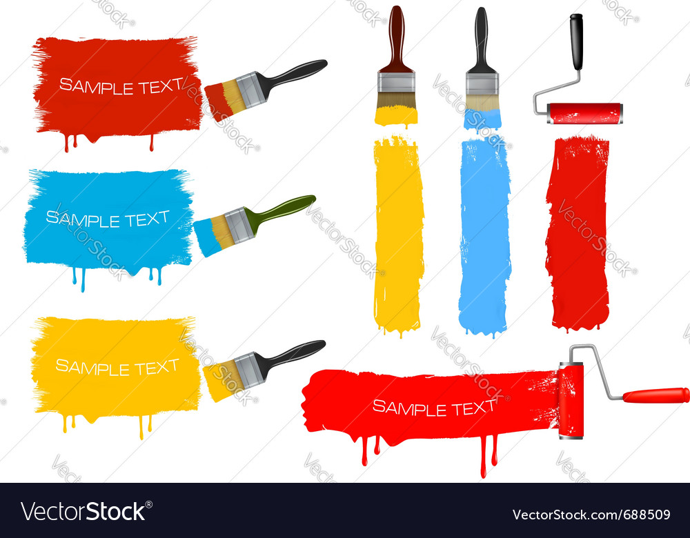 Paint brush and paint roller and paint banners vector | Price: 1 Credit (USD $1)