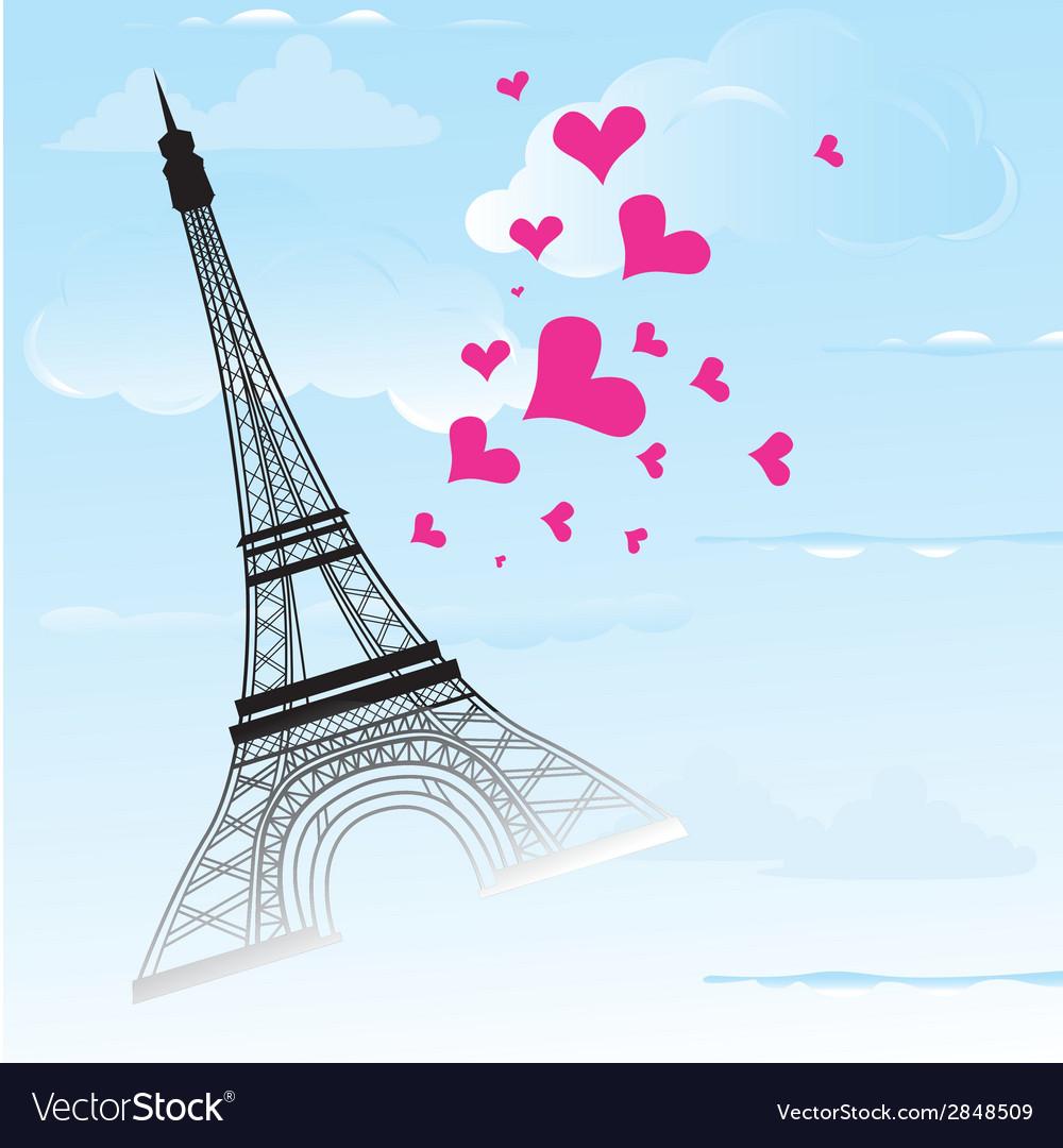 Paris town in france card as symbol love vector | Price: 1 Credit (USD $1)