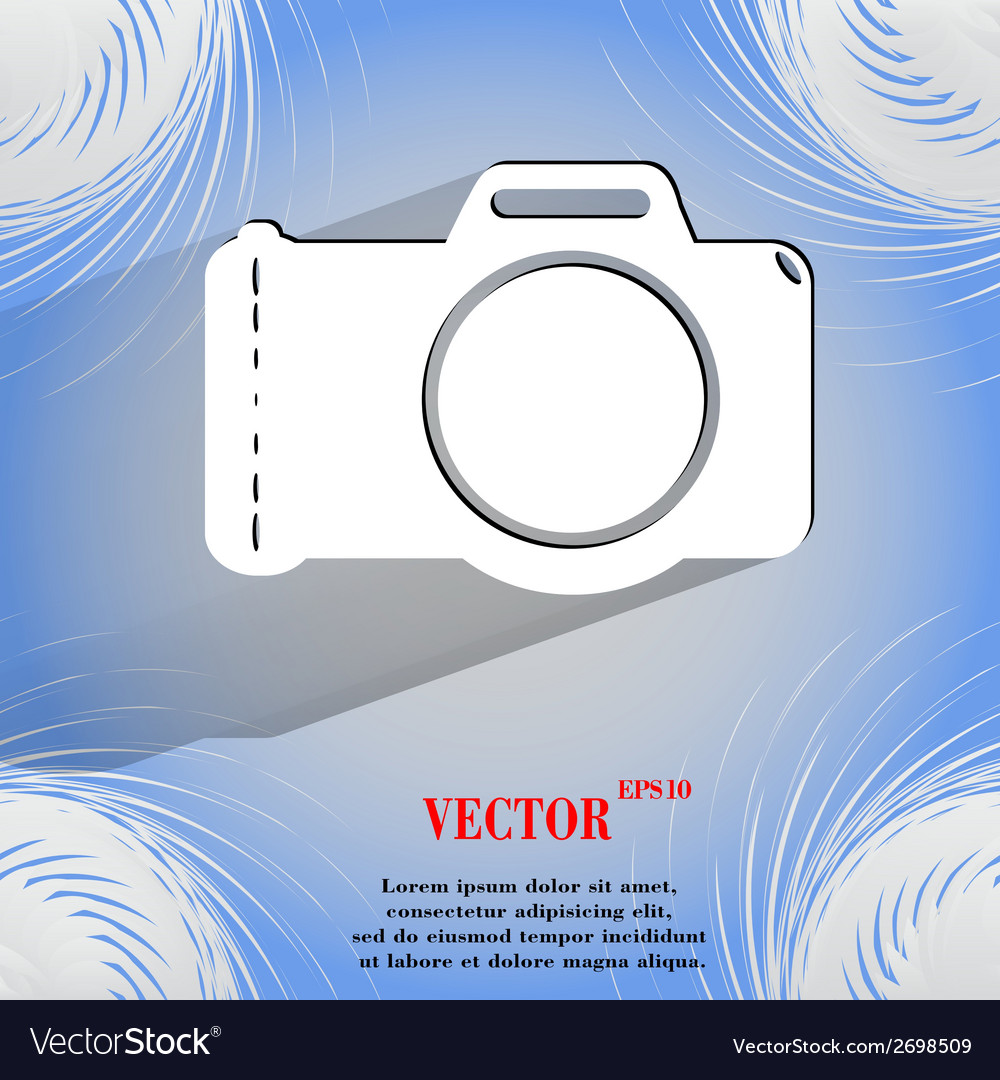 Photo camera flat modern web button on a flat vector | Price: 1 Credit (USD $1)