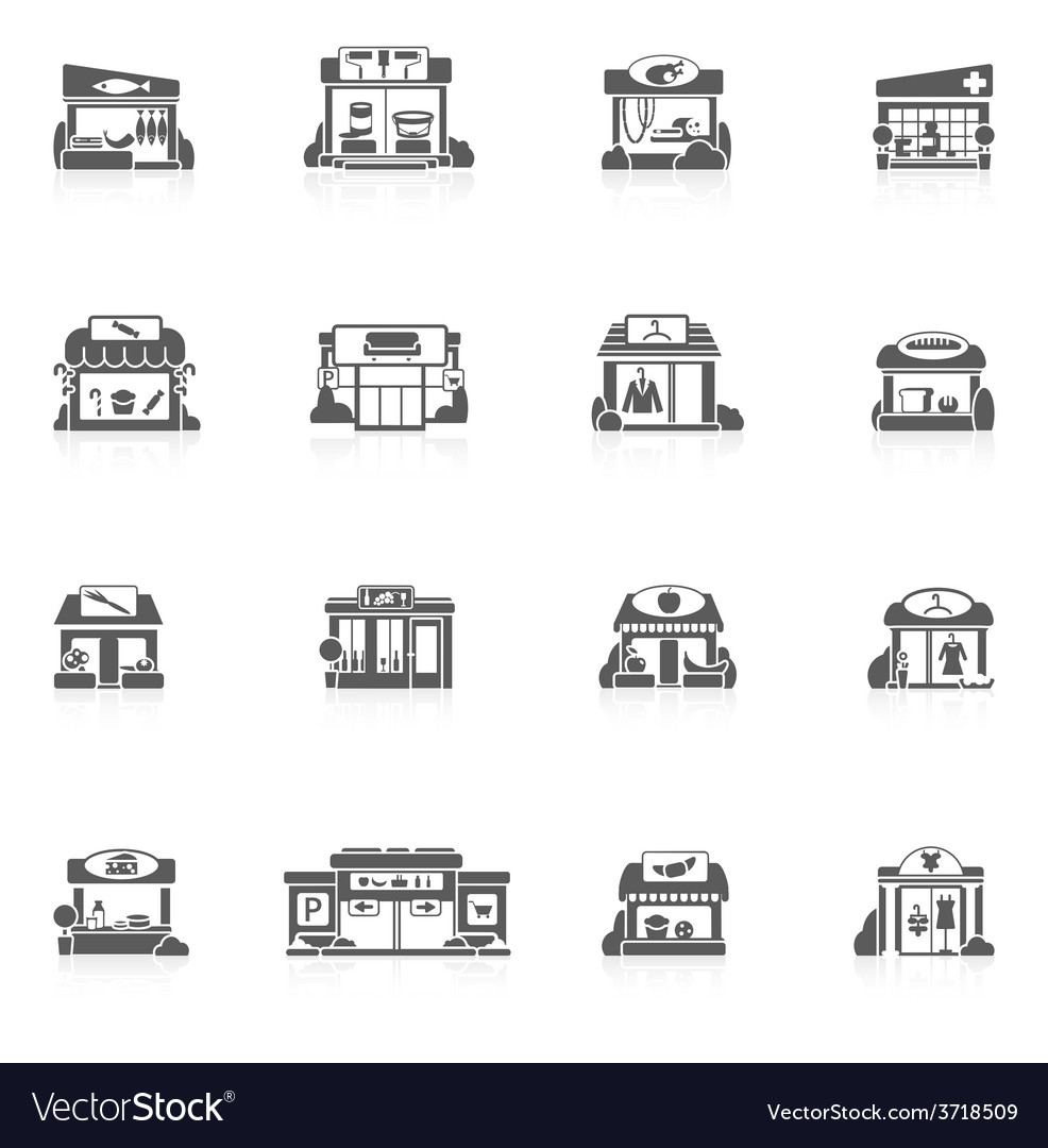 Store buildings set vector | Price: 1 Credit (USD $1)