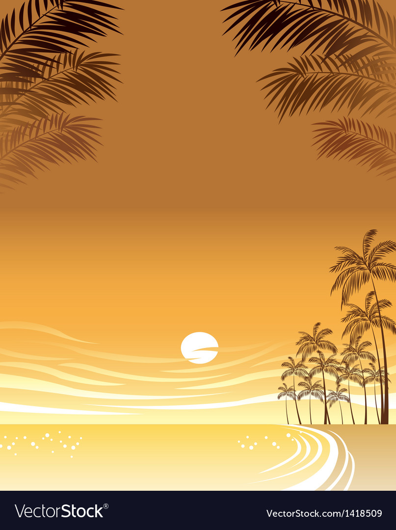 Sunset beach background vector | Price: 1 Credit (USD $1)