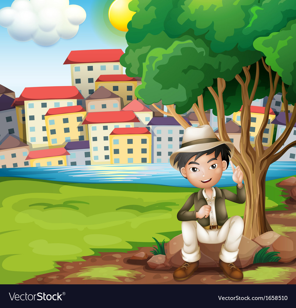 A man sitting above the rock under the tree vector | Price: 3 Credit (USD $3)