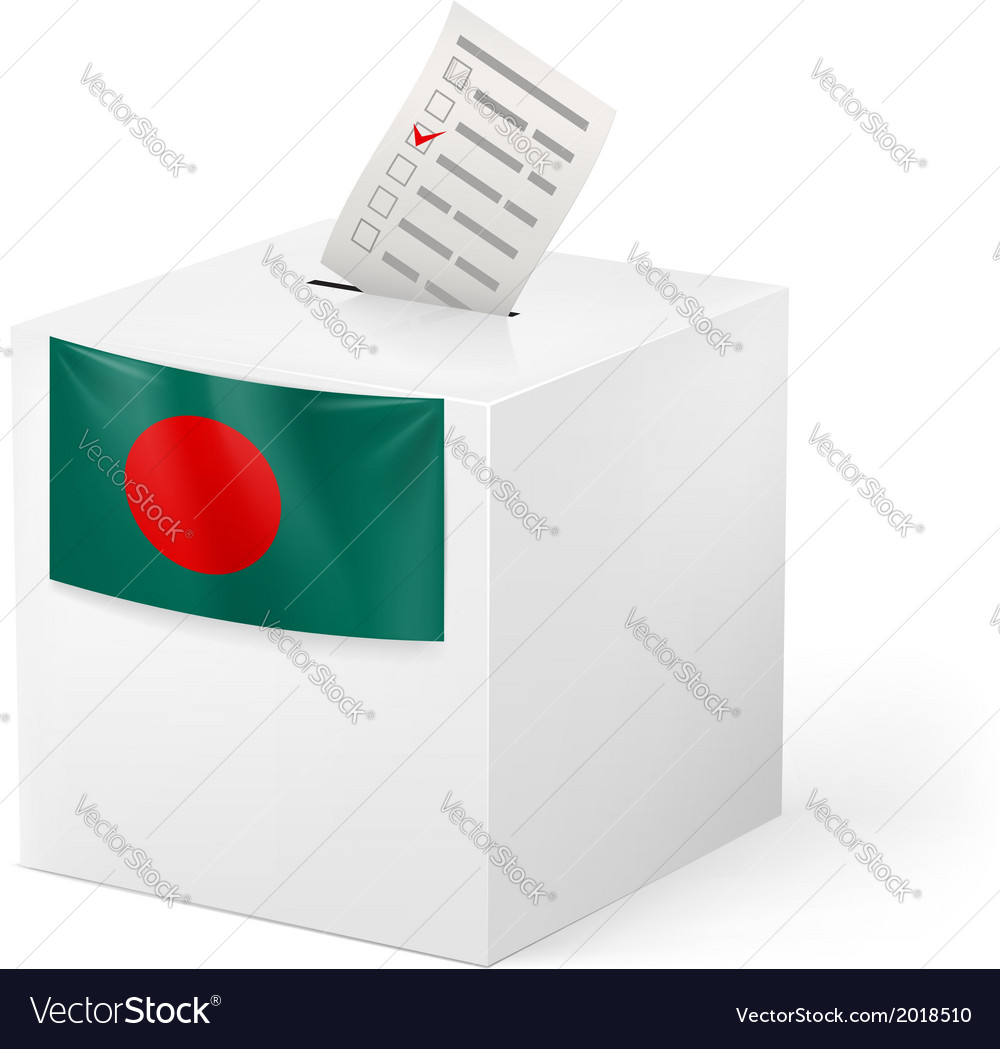Ballot box with voting paper bangladesh vector | Price: 1 Credit (USD $1)