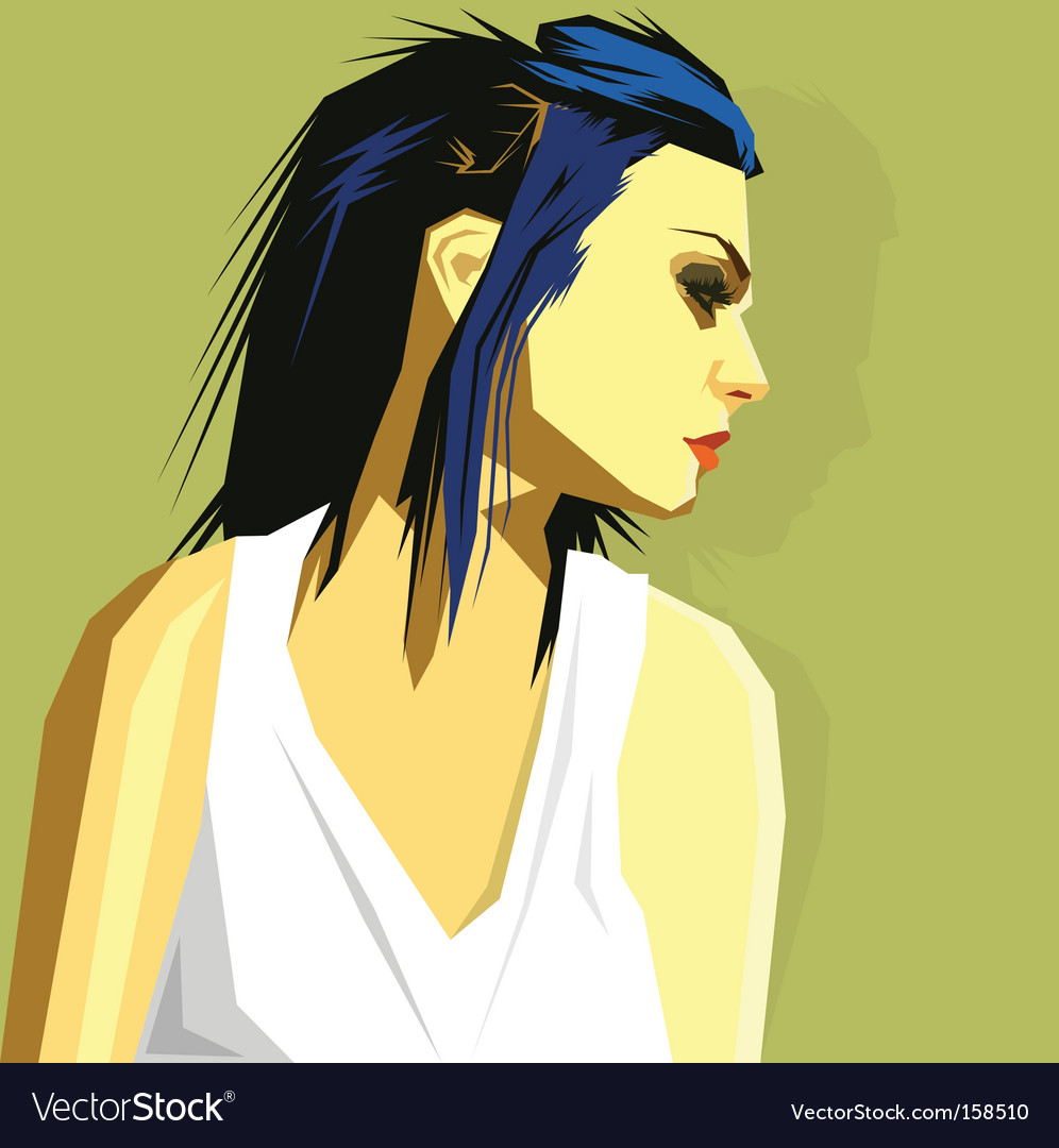 Blue hair vector | Price: 3 Credit (USD $3)