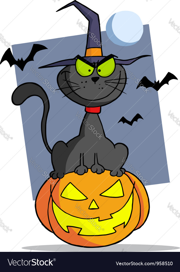 Cartoon halloween cat on pumpkin vector | Price: 1 Credit (USD $1)