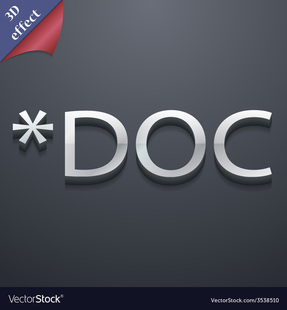 Doc file extension icon symbol 3d style trendy vector | Price: 1 Credit (USD $1)