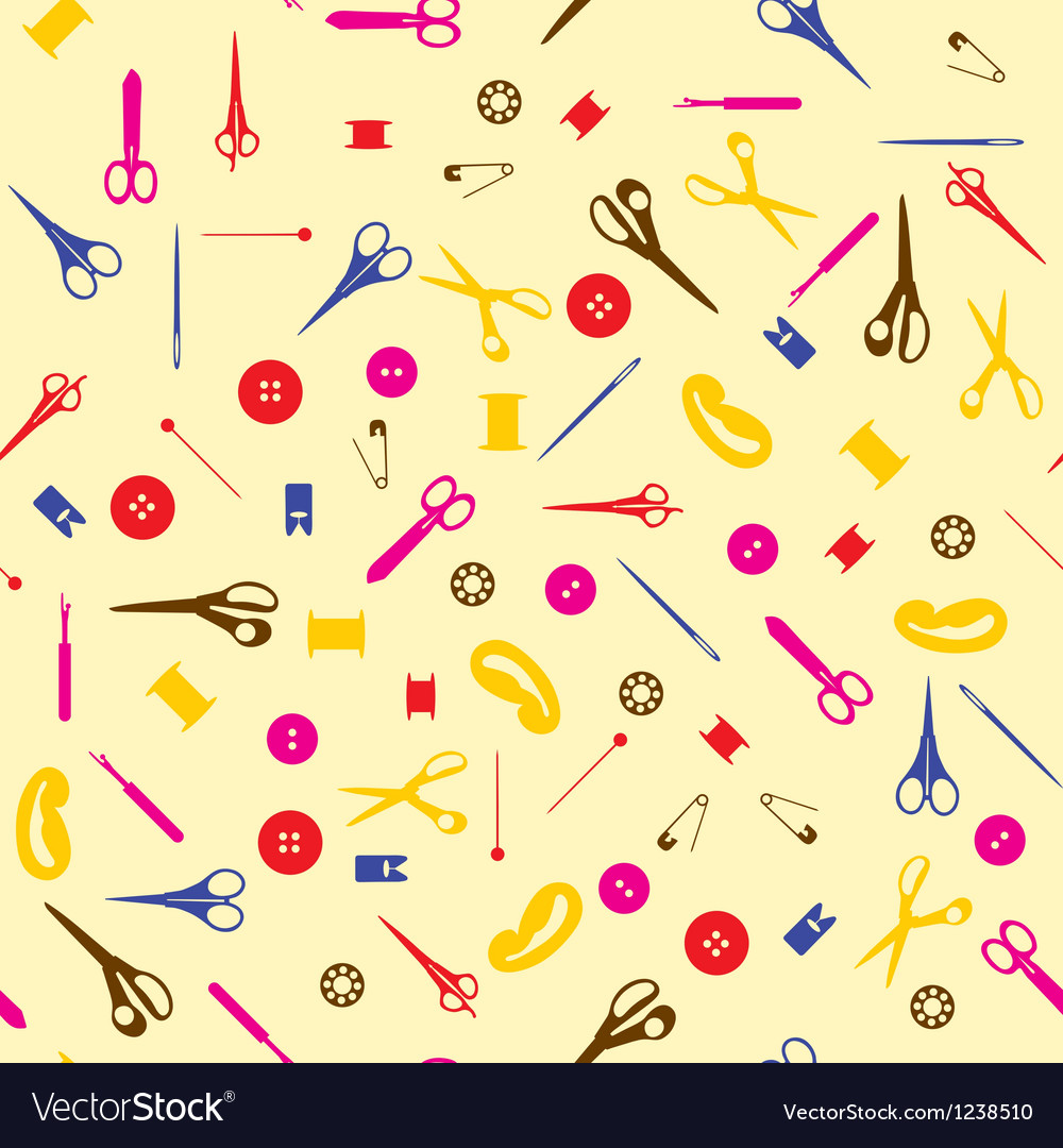 Seamless sewing items background vector   Price: 1 Credit (USD $1)