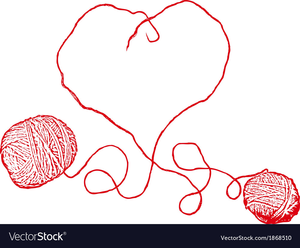 Two red clews in heart form vector | Price: 1 Credit (USD $1)