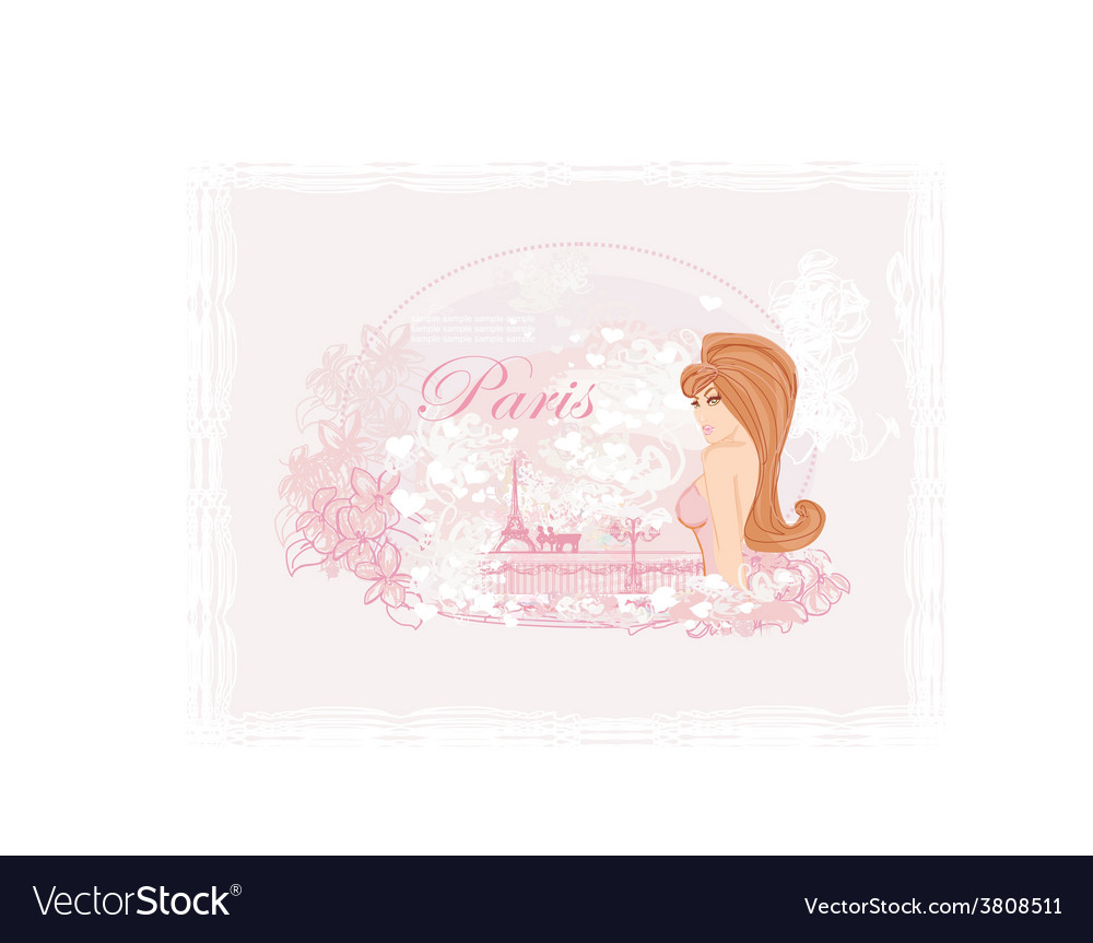 Beautiful women shopping in paris card vector | Price: 1 Credit (USD $1)