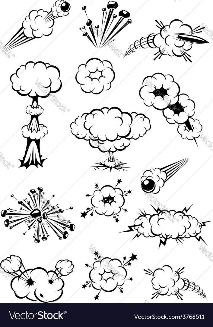 Cartoon black and white explosions vector | Price: 1 Credit (USD $1)