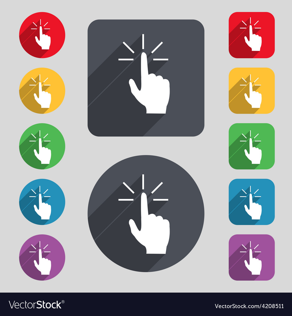 Click here hand icon sign a set of 12 colored vector | Price: 1 Credit (USD $1)