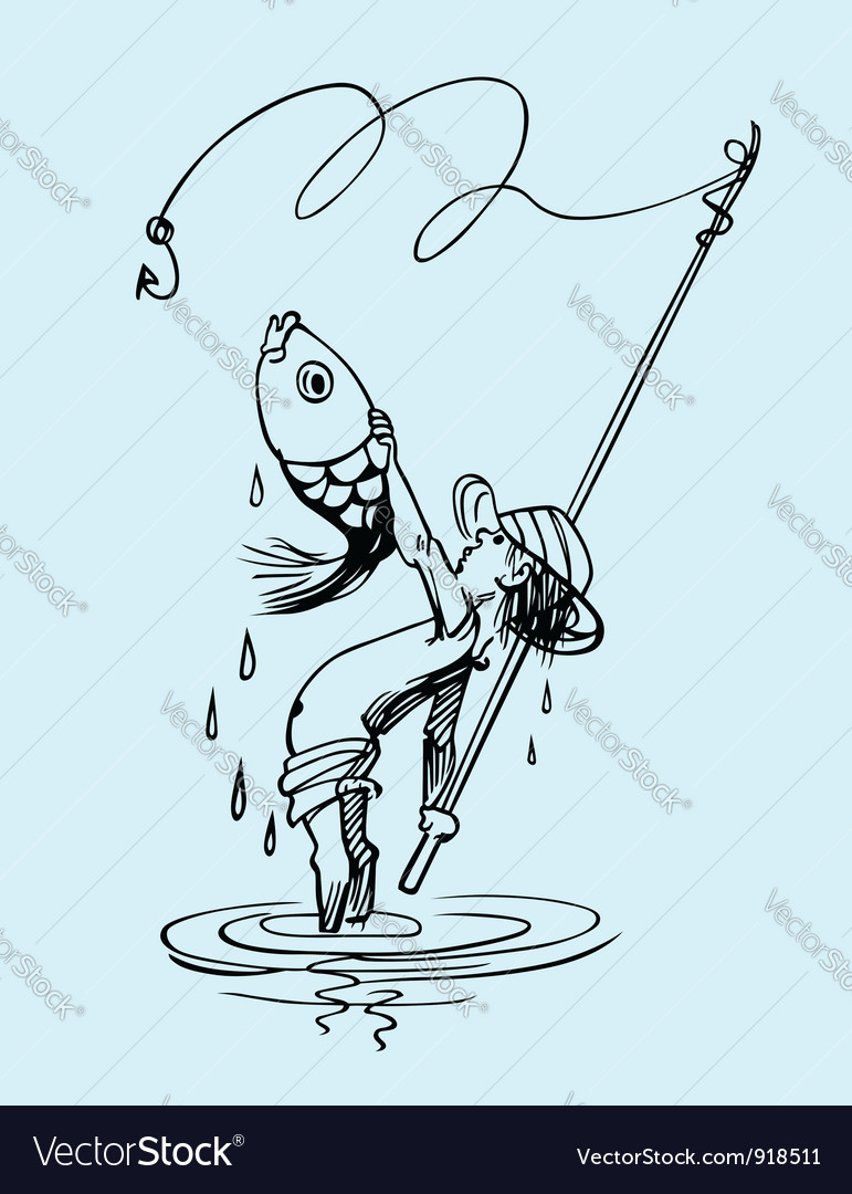 Fishing boy vector | Price: 1 Credit (USD $1)