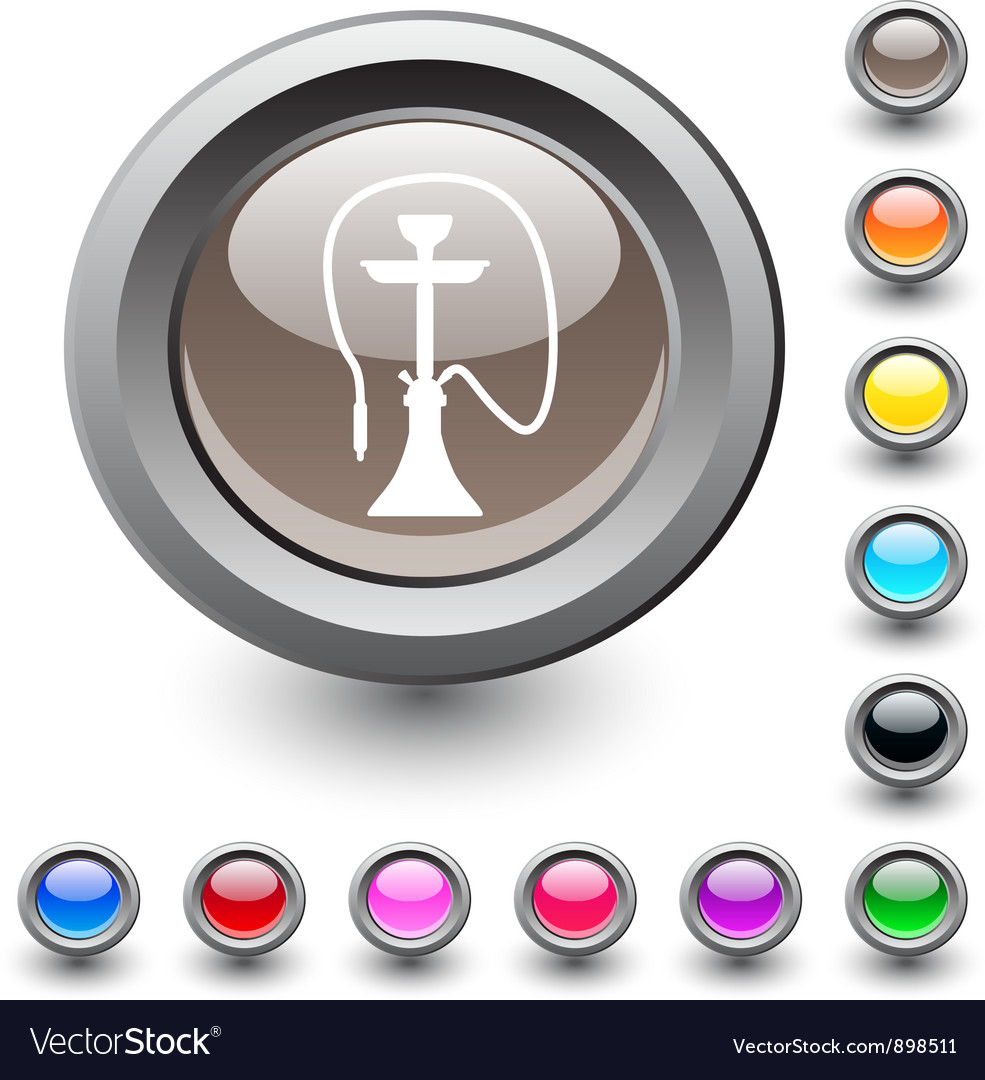 Hookah round button vector | Price: 1 Credit (USD $1)