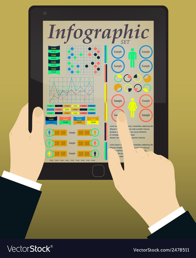 Infographics on the tablet  hands vector | Price: 1 Credit (USD $1)