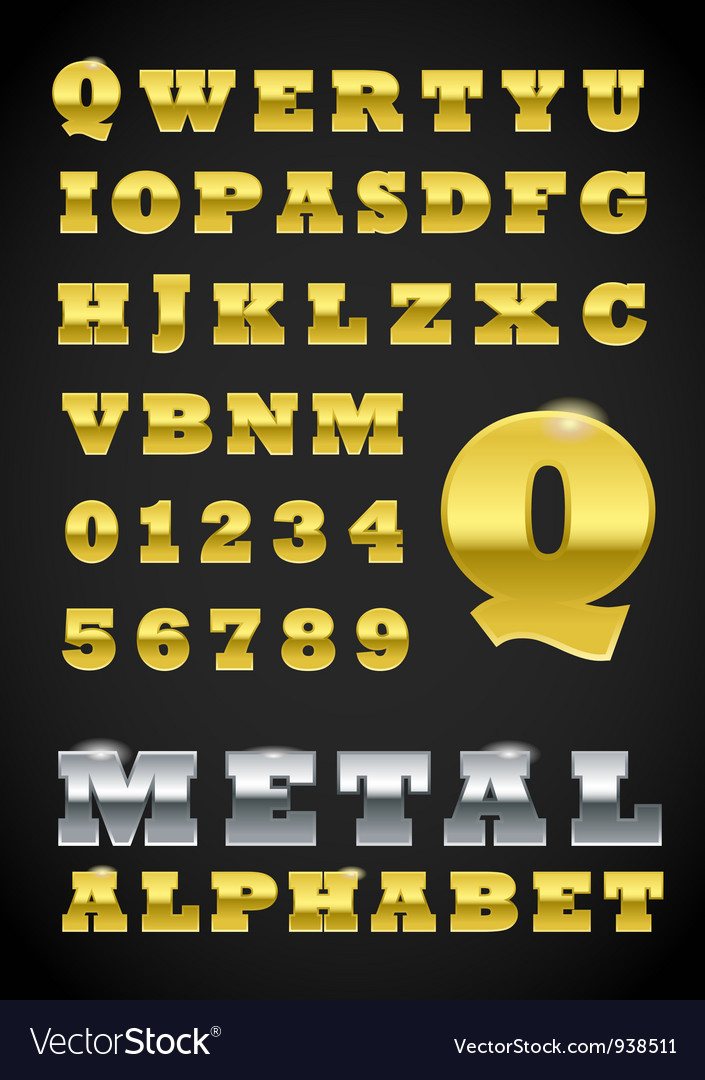 Metal letter and numbers vector | Price: 1 Credit (USD $1)