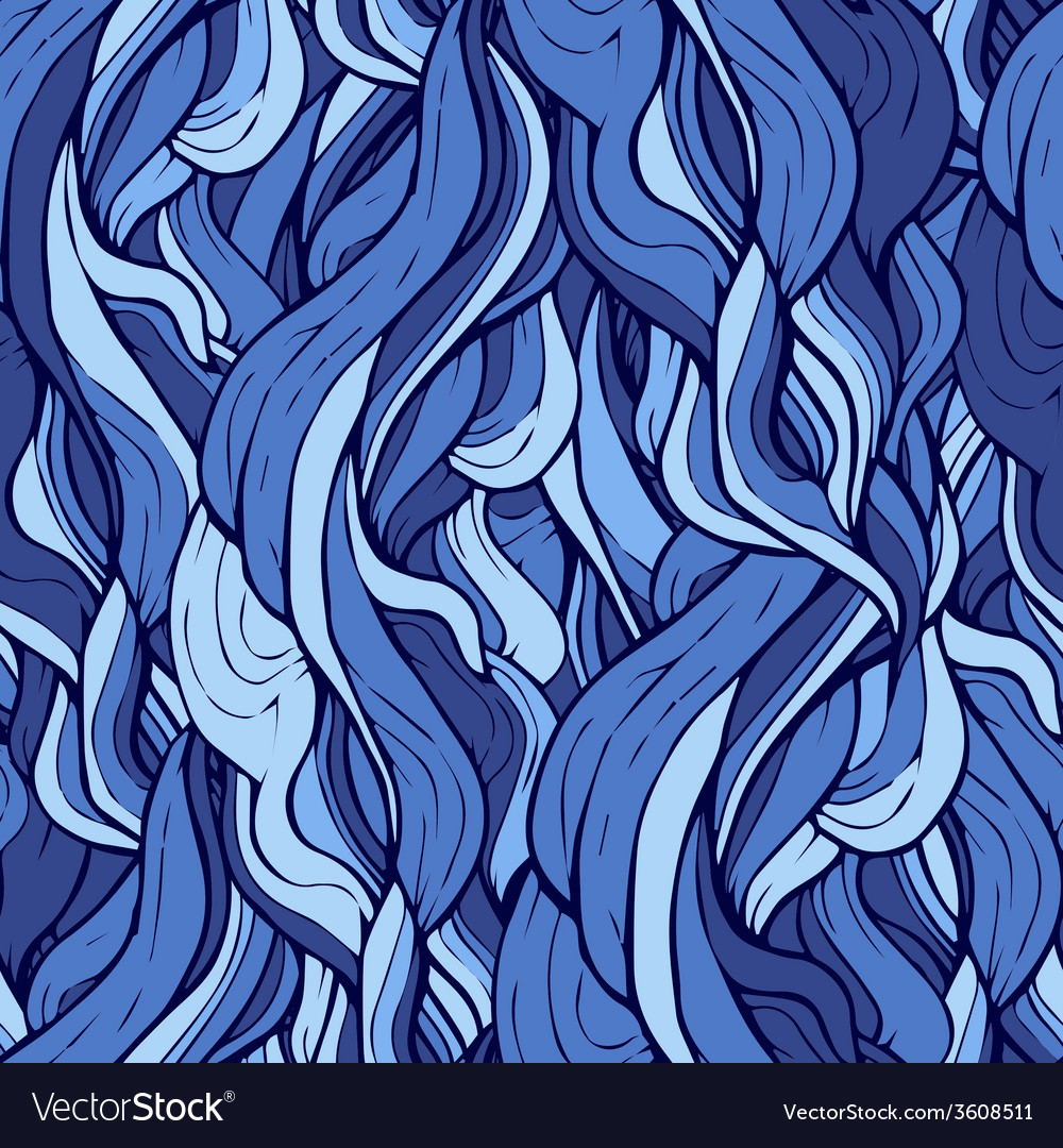 Seamless pattern with stylized blue curly hair vector | Price: 1 Credit (USD $1)