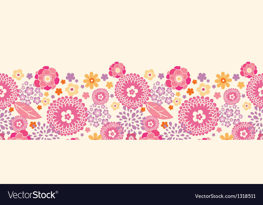 Warm summer plants horizontal seamless pattern vector | Price: 1 Credit (USD $1)
