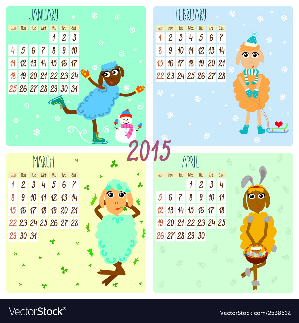 2015 calendar with cartoon and funny sheep winter vector   Price: 1 Credit (USD $1)