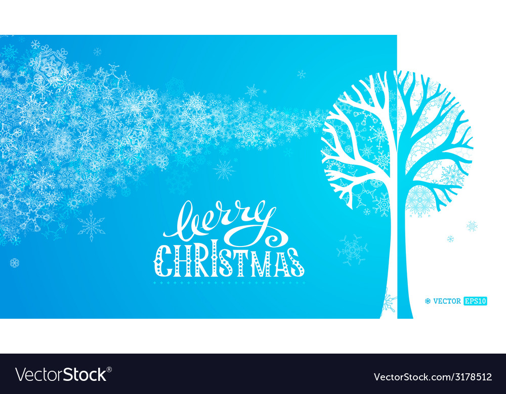 Blue winter tree background vector | Price: 1 Credit (USD $1)