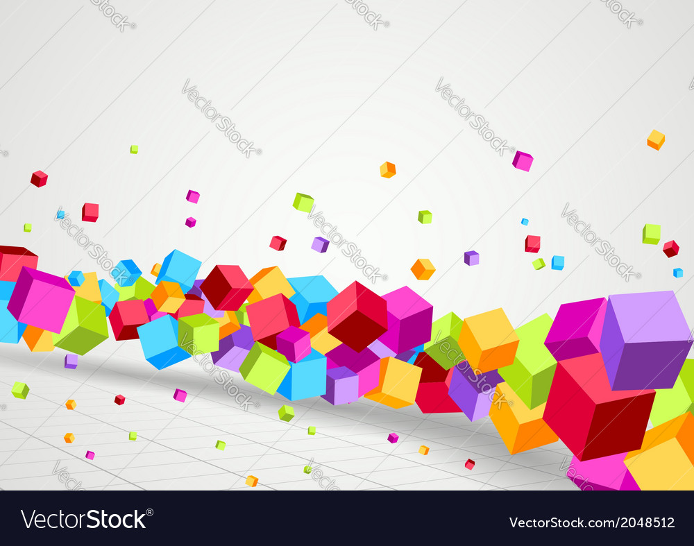 Bright cubes fly perspective background vector | Price: 1 Credit (USD $1)