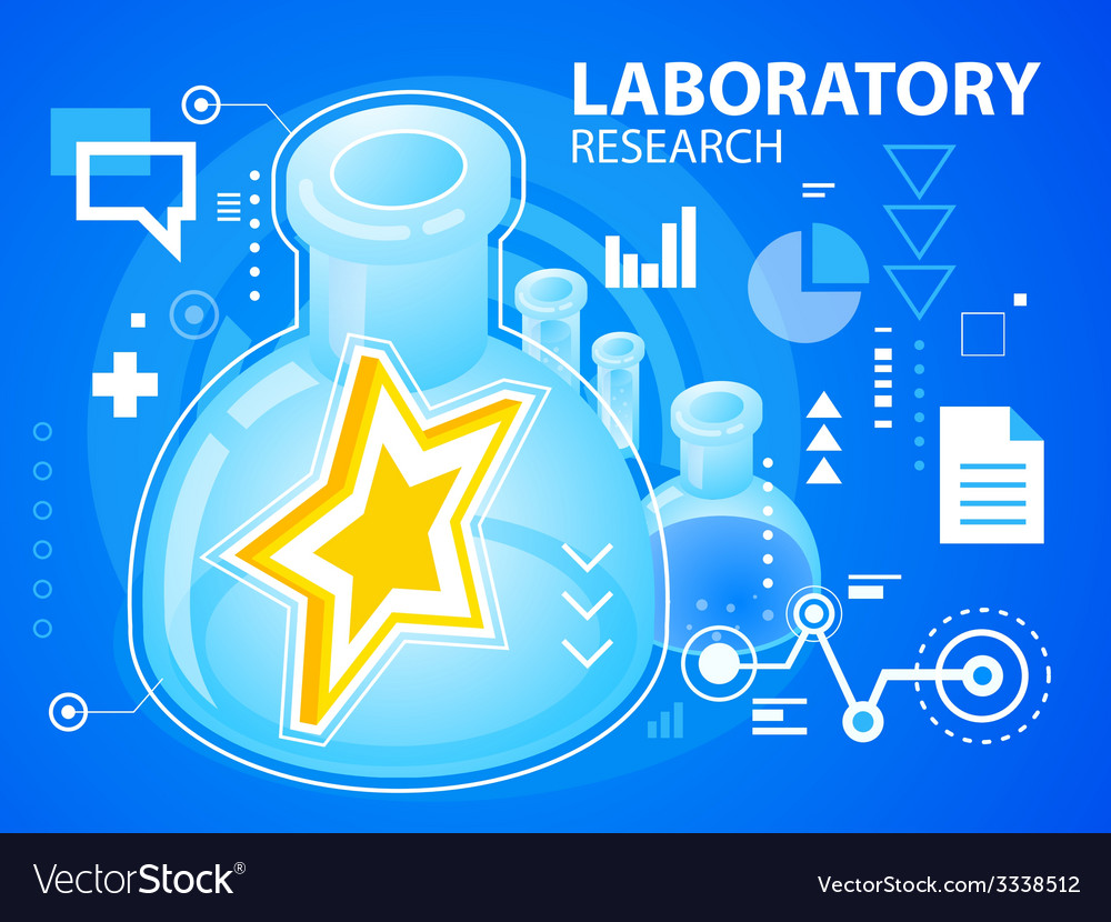 Bright laboratory research of star on blue b vector | Price: 3 Credit (USD $3)