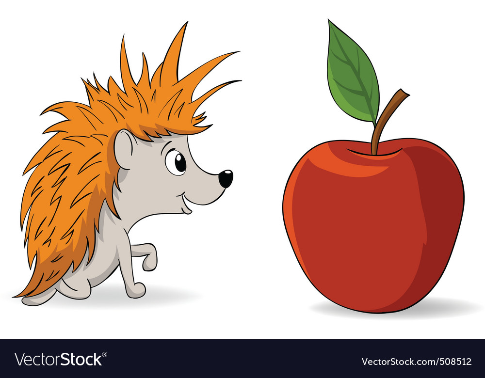 Cartoon little hedgehog and red apple vector | Price: 1 Credit (USD $1)