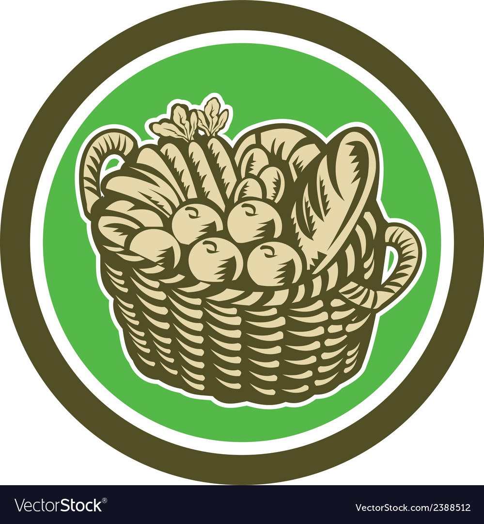 Crop harvest basket circle retro vector | Price: 1 Credit (USD $1)