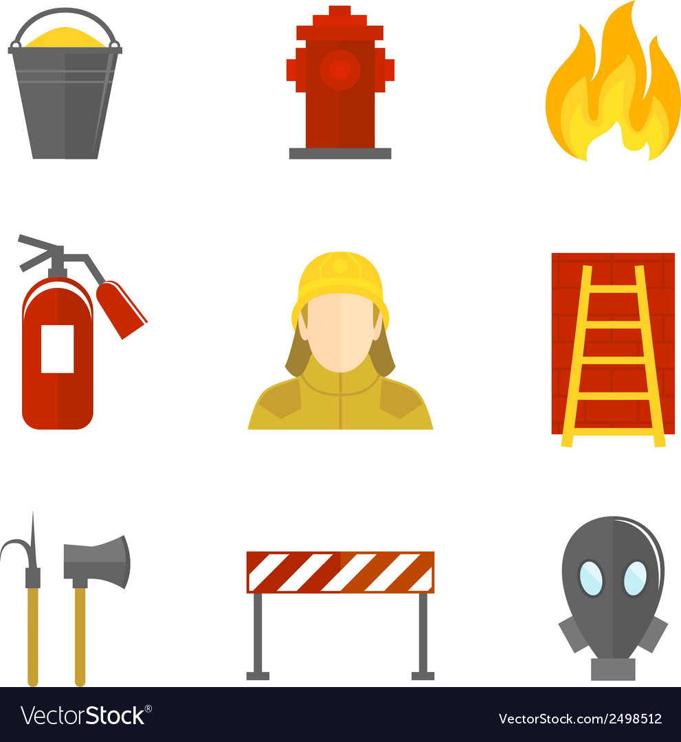 Firefighting icons flat vector | Price: 1 Credit (USD $1)