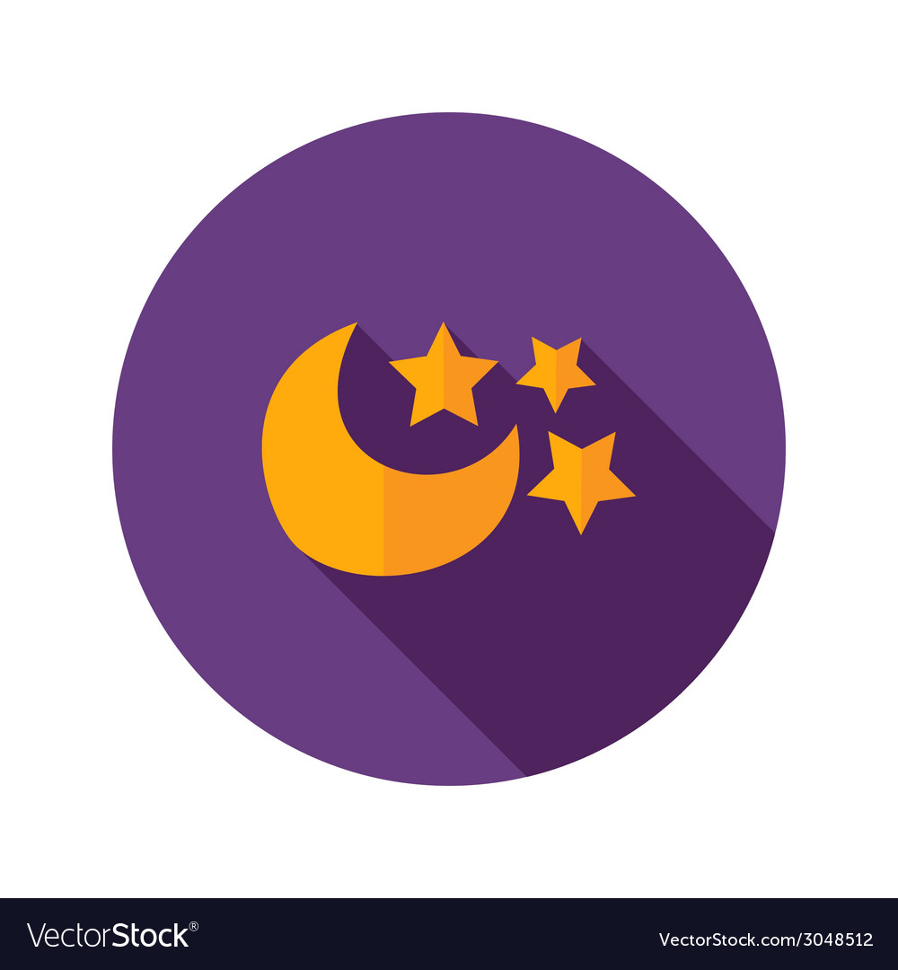 Moon with three stars flat icon vector | Price: 1 Credit (USD $1)