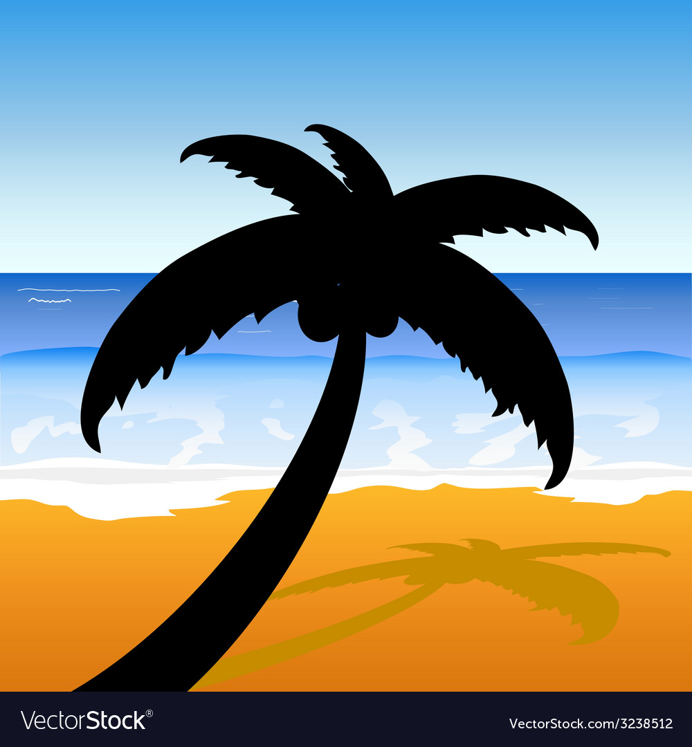 Palm on the beach color vector | Price: 1 Credit (USD $1)