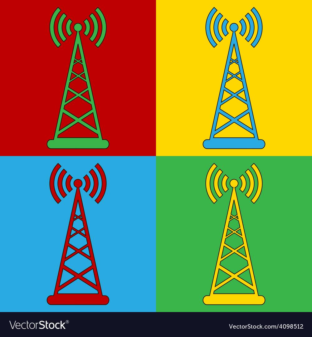 Pop art transmitter icons vector | Price: 1 Credit (USD $1)