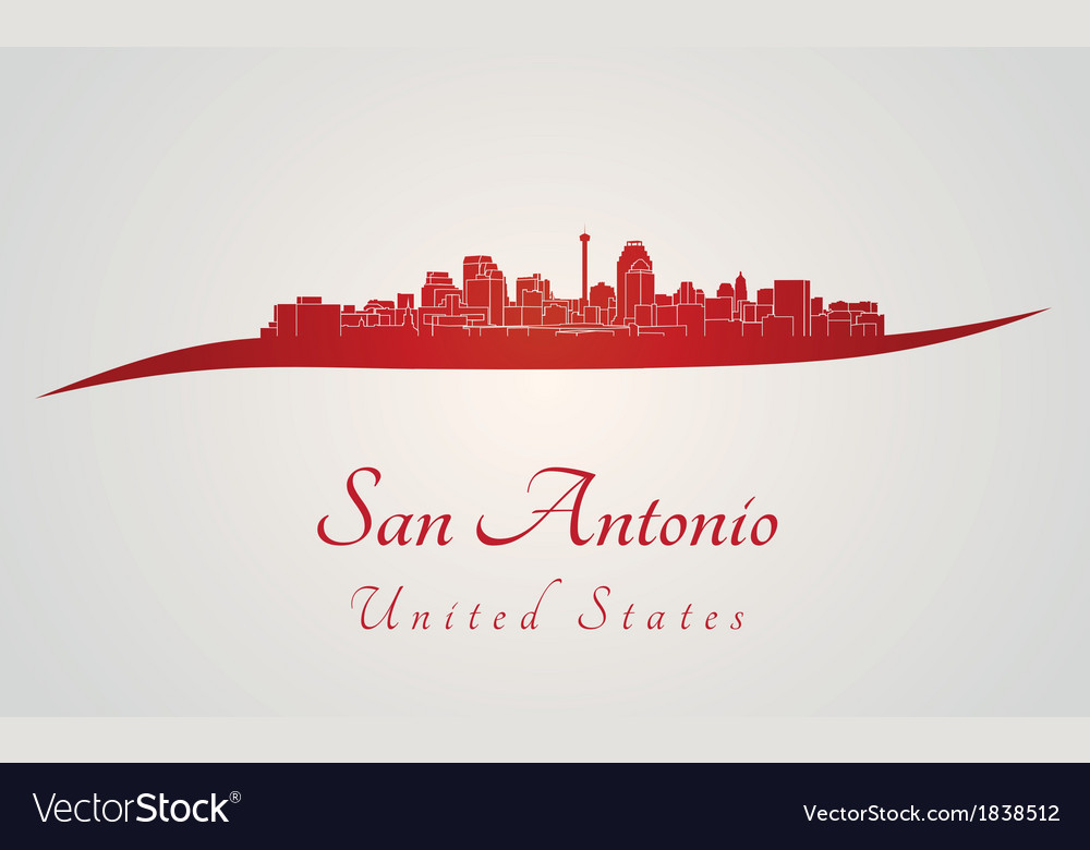 San antonio skyline in red vector | Price: 1 Credit (USD $1)