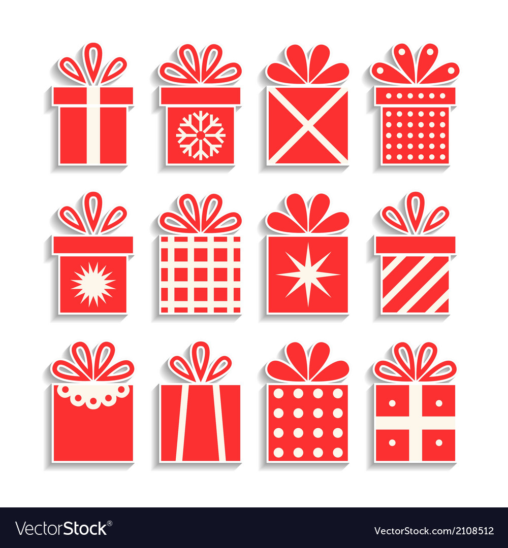 Set of gift boxes with ribbons packaging isolated vector | Price: 1 Credit (USD $1)