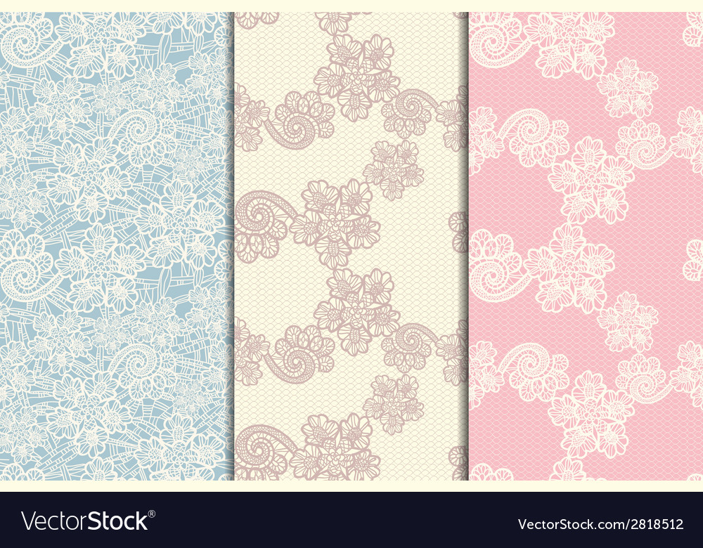 Three lacy seamless patterns vector | Price: 1 Credit (USD $1)