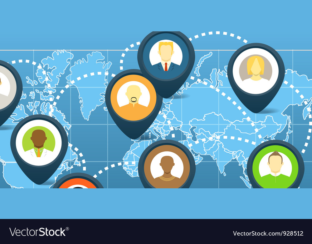 World social network scheme vector | Price: 1 Credit (USD $1)