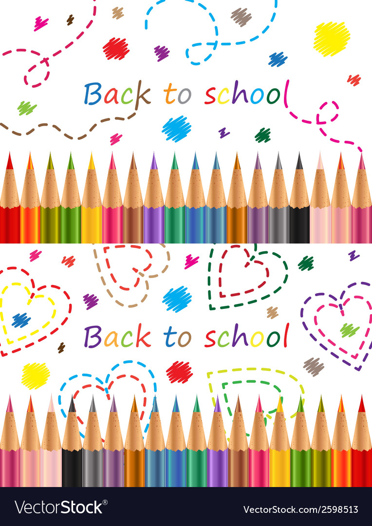 Back to school colored pencils vector | Price: 1 Credit (USD $1)