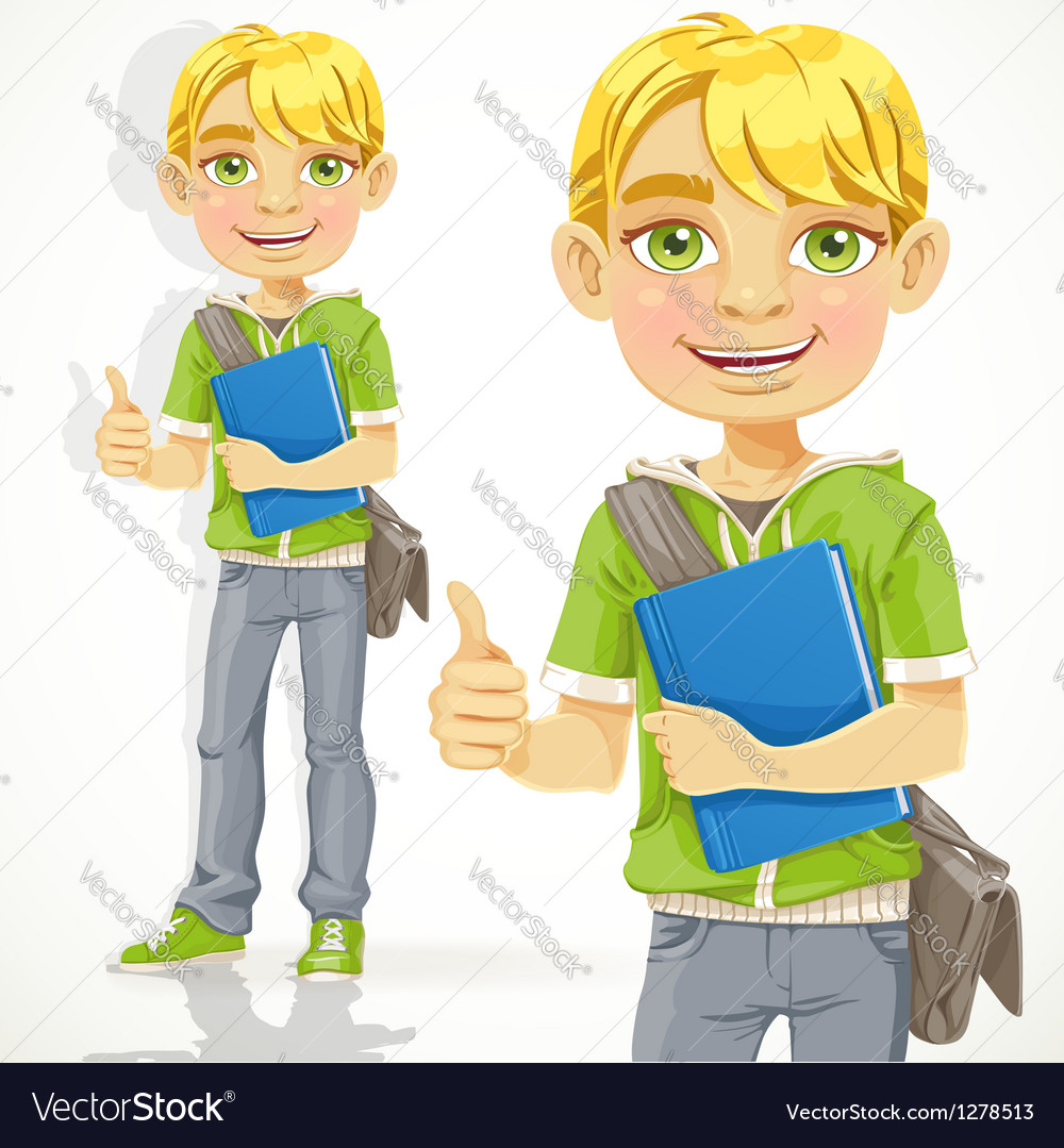 Blond teenage boy with a textbook shows ok vector | Price: 1 Credit (USD $1)