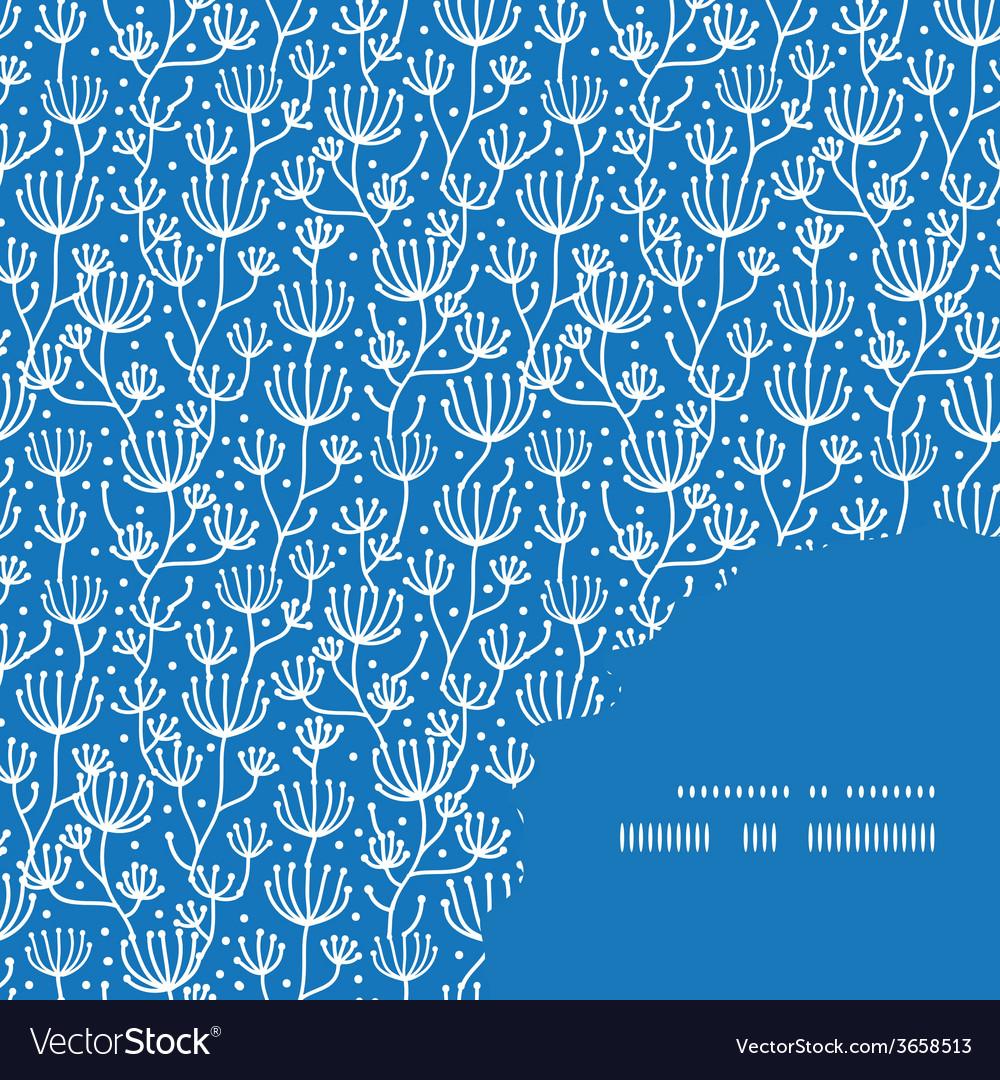 Blue white lineart plants frame corner pattern vector | Price: 1 Credit (USD $1)