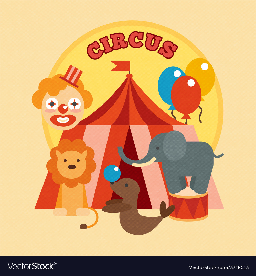 Circus poster flat vector | Price: 1 Credit (USD $1)