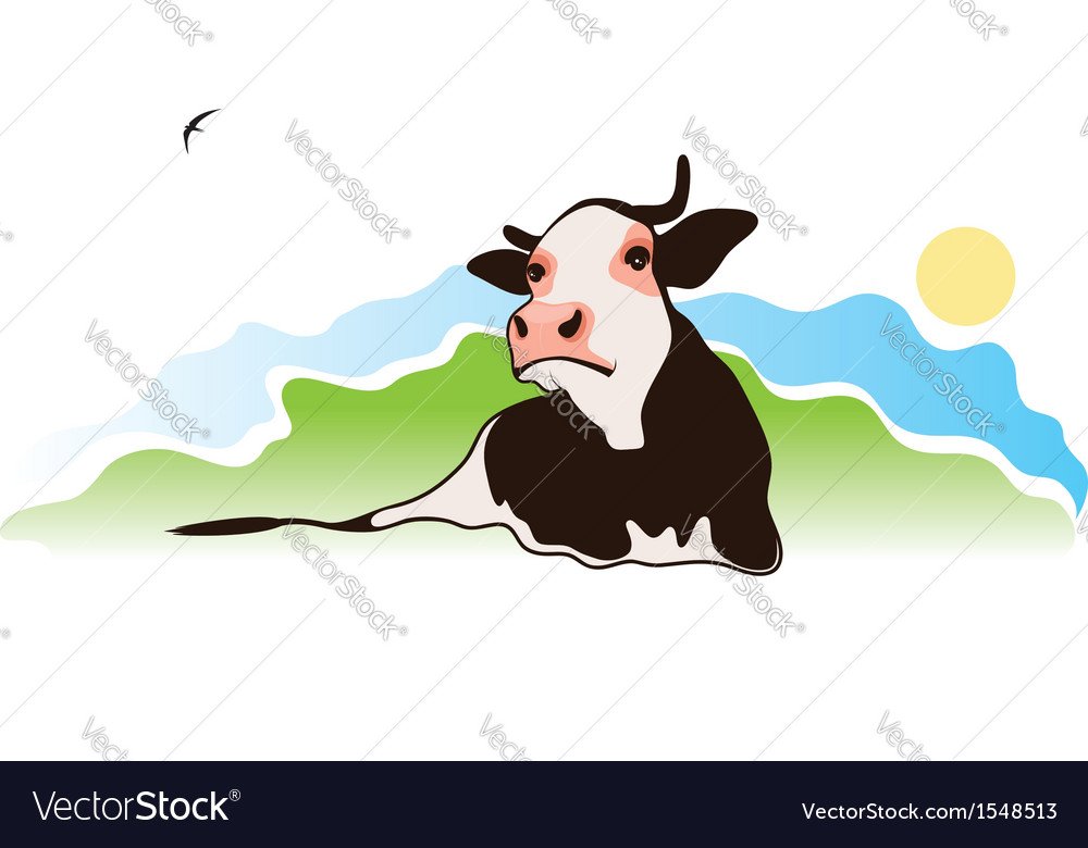 Cow in the meadow vector | Price: 1 Credit (USD $1)