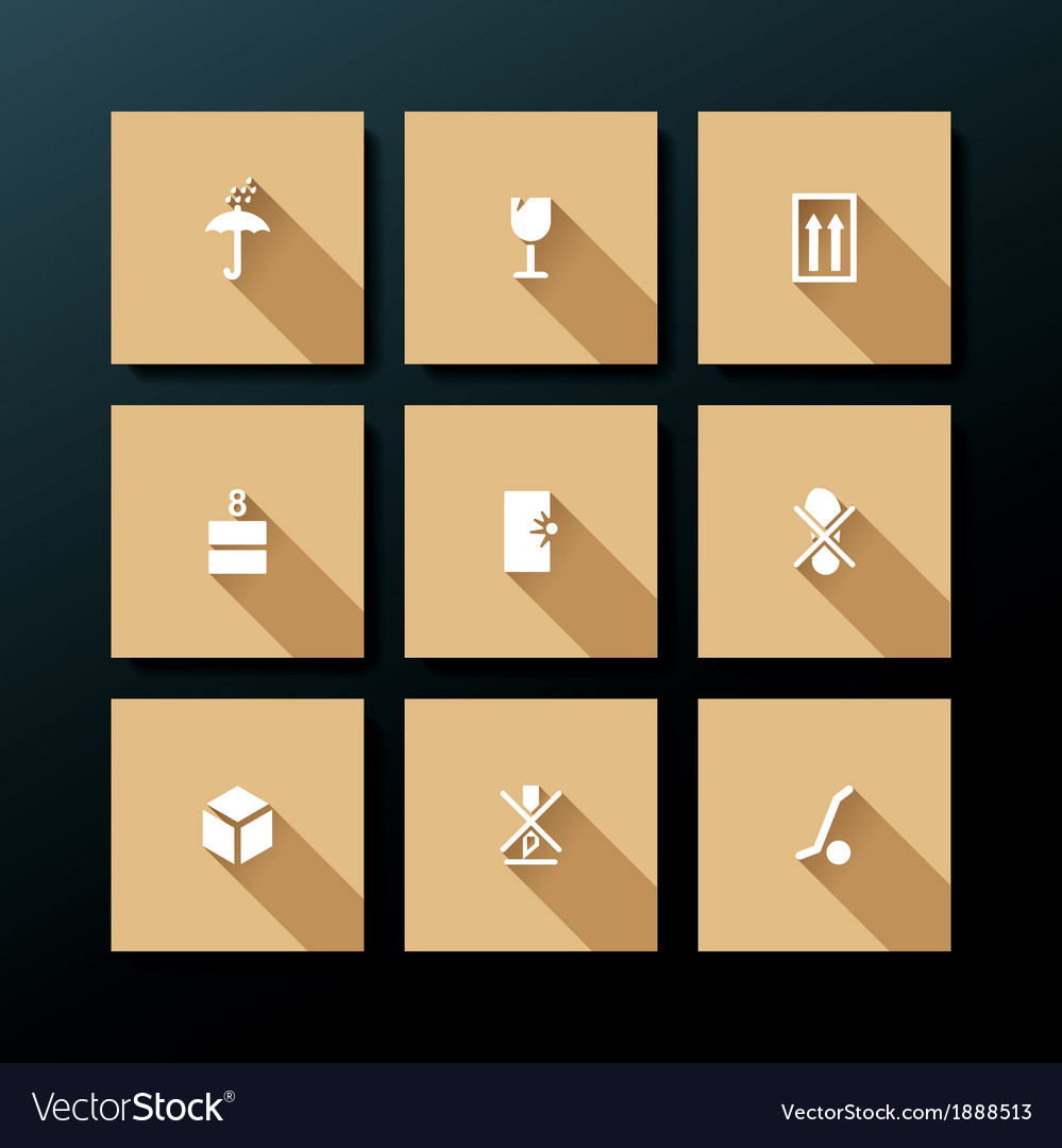 Flat packaging icon set vector | Price: 1 Credit (USD $1)
