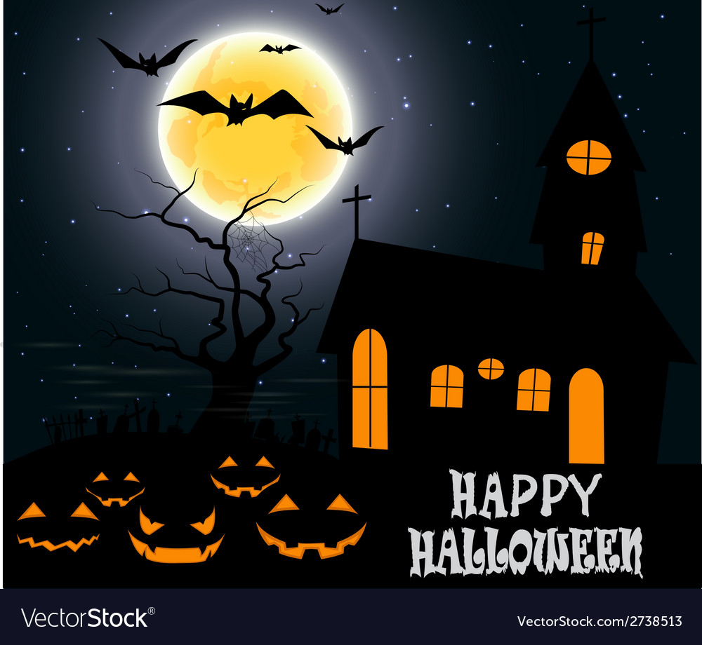 Halloween party on full moon vector | Price: 1 Credit (USD $1)