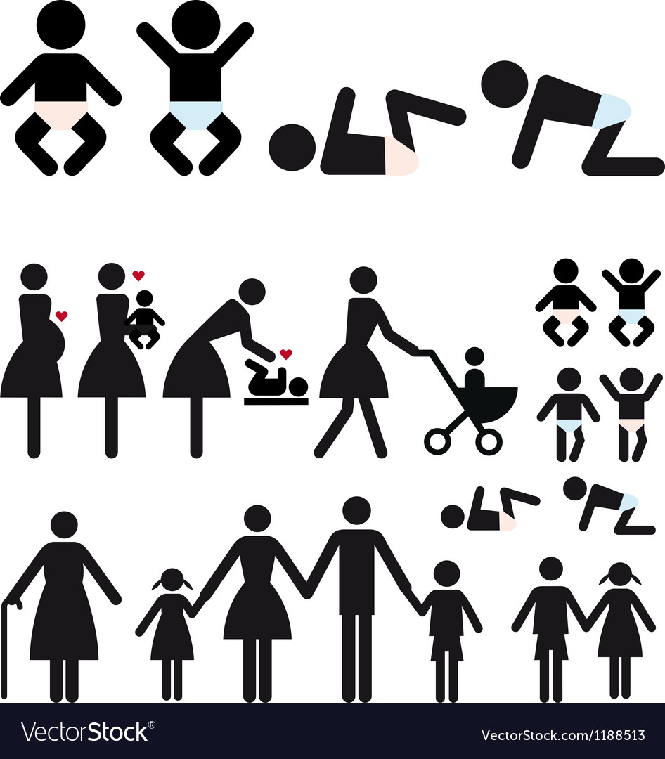 Mother and children icon set vector | Price: 1 Credit (USD $1)