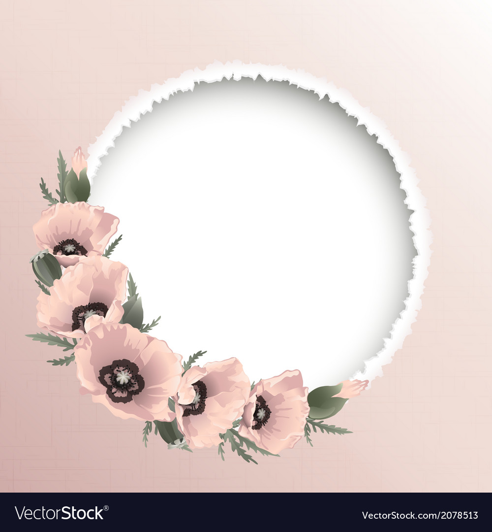 Red poppies floral round frame vector | Price: 1 Credit (USD $1)
