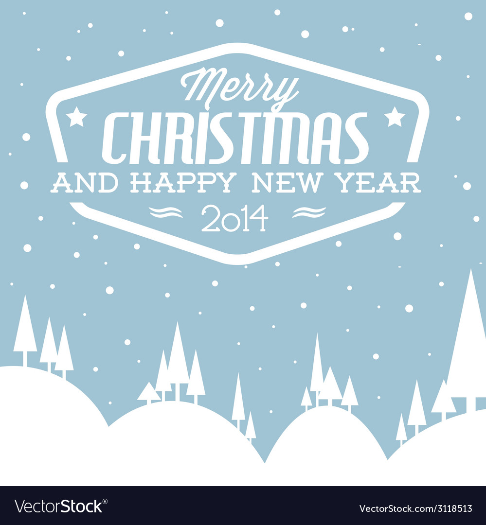 Retro snowy landscape as a christmas card vector | Price: 1 Credit (USD $1)